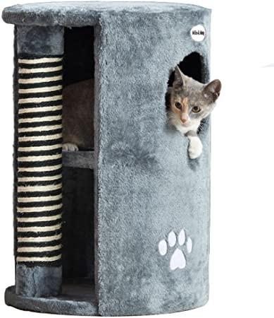 Stalp de zgariat pentru pisici cu loc de dormit Milo&Misty