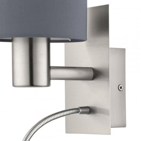 Aplica LED Pasteri II tesatura/otel, gri, 2 becuri, 230 V, 380 lm