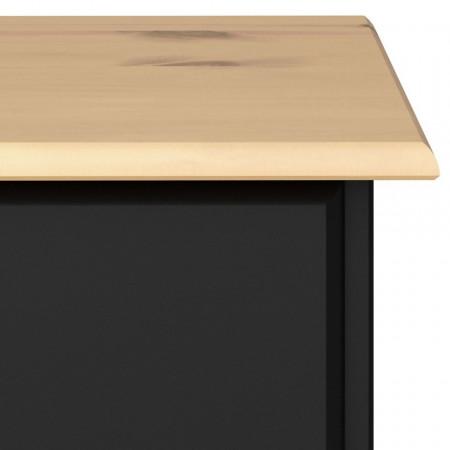 Comoda Nola II din pin masiv/MDF, negru, 78,5 x 38,5 x 91 cm