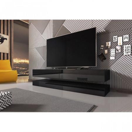 Comoda TV Ambleside, MDF, neagra, 140 x 25 x 34 cm