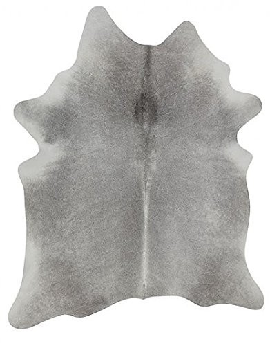 Covor din piele de bovina Rinderfell, par scurt, gri, masura L