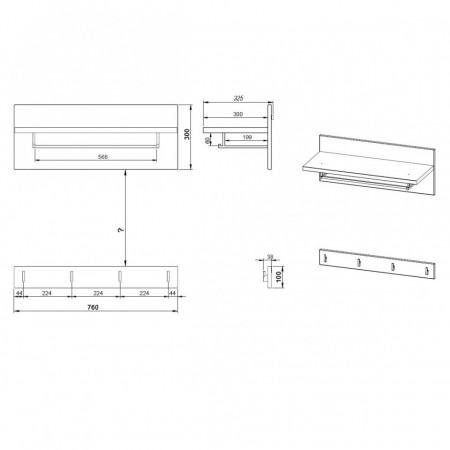 Cuier Neston set 2 piese PAL/MDF/stejar, alb/maro, 76 x 53 x 35 cm