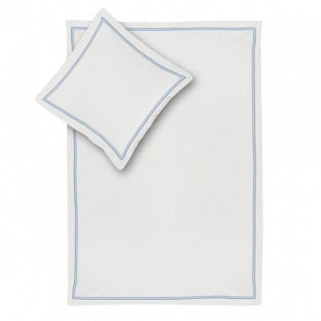 Lenjerie Smood - 155 x 200 cm + Fete de perna 80 x 80 cm - alb/albastru