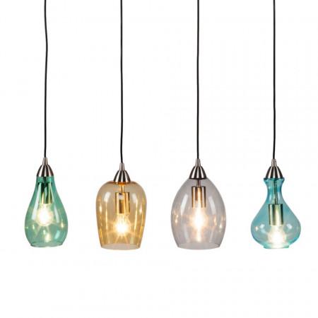 Lustra tip pendul Cambo sticla/fier, multicolor, dreptunghiulara, 4 becuri, 220 V