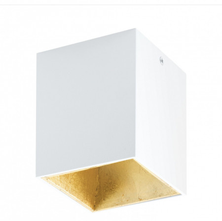 Plafoniera POLASSO, LED, 3,3W, L 100, l 100, H 120, 340 Lumeni, 3000 K (Calda), Aluminiu / Plastic, Alb / Auriu