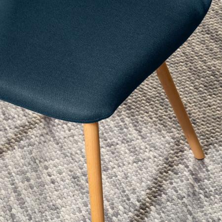 Set 2 scaune Daleras, tesatura si lemn masiv, albastru inchis