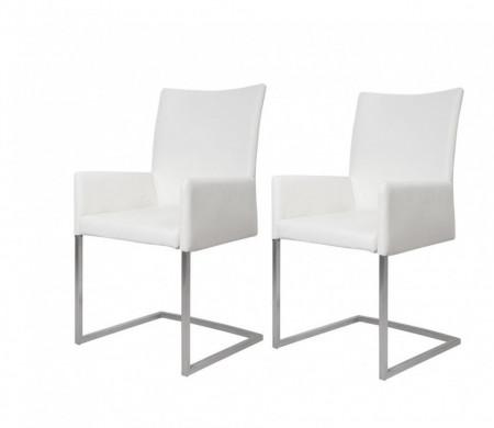 Set de 2 scaune Ugo, din piele sintetica, alba