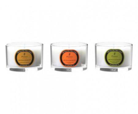 Set de 3 candele Aromaterapie Sandalwood/Arancio/Vetiver