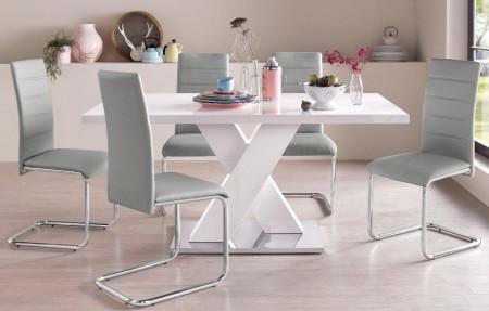 Set de living Ali Adora - 5 piese: 4 scaune si o masa, piele sintetica gri