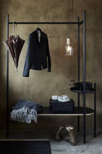 Suport pentru haine cu rafturi Wakayama, 170x125x40cm