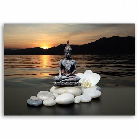 Tablou 'Buddha over the Sea', 60cm H x 90cm W x 3cm D