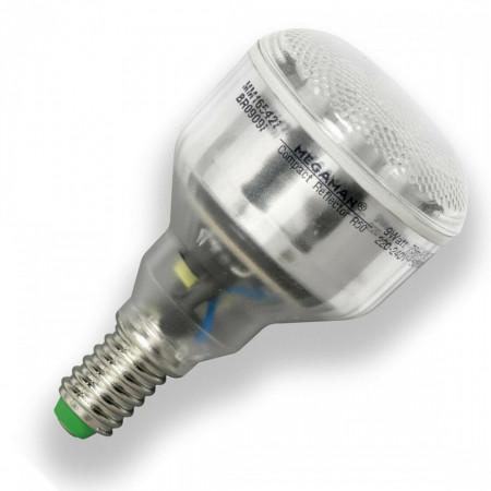 Bec lumina fluorescenta compacta Megaman R50 , 9W , lumina calda , E14, argintiu