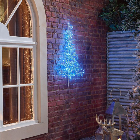 Brad de Craciun Starburst, Albastru, LED, 90 cm