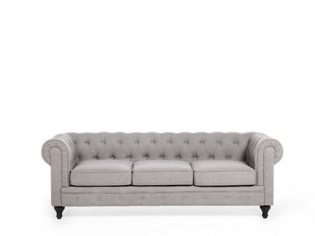 Canapea Chesterfield, textil, gri deschis, 202 x 75 x 70 cm