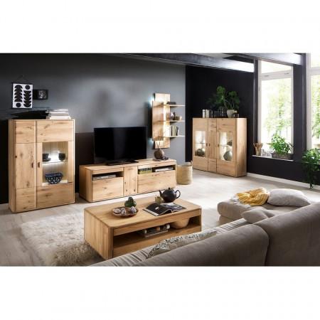 Comoda inalta Forge I lemn masiv/HDF/metal, maro, 156 x 141 x 38 cm
