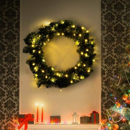 Coroana decorativa Craciun cu LED, 55 cm