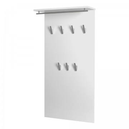 Cuier Aliane IV Pal/metal/plastic, alb/argintiu, 60 x 120,5 x 20,5 cm
