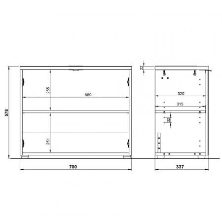 Dulapior pentru chiuveta Pescara Pal/sticla/aluminiu, alb/gri, 70 x 58 x 34 cm