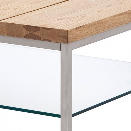 Masuta de cafea Envie MDF/sticla transparenta/otel, maro/argintiu, 100 x 39 x 60 cm