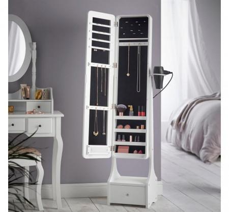 Oglinda verticala cu depozitare pentru bijuterii și cosmetice, cu lumina Led și sertar extra