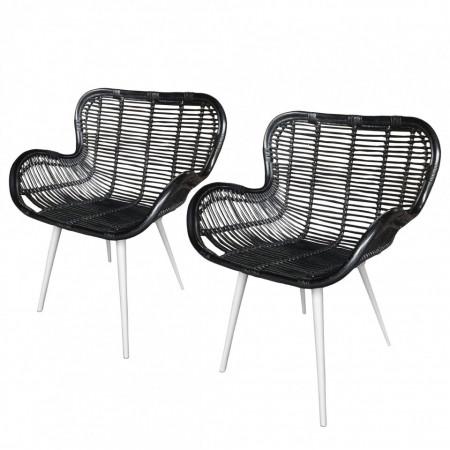 Set de 2 scaune de gradina Borre polirattan/otel, negru, 75 x 90 x 60 cm