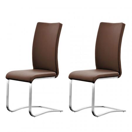 Set de 2 scaune din piele naturala Marco, maro