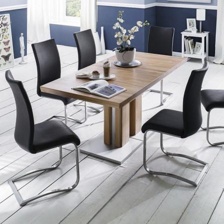 Set de 2 scaune din piele sintetica Marco, negru