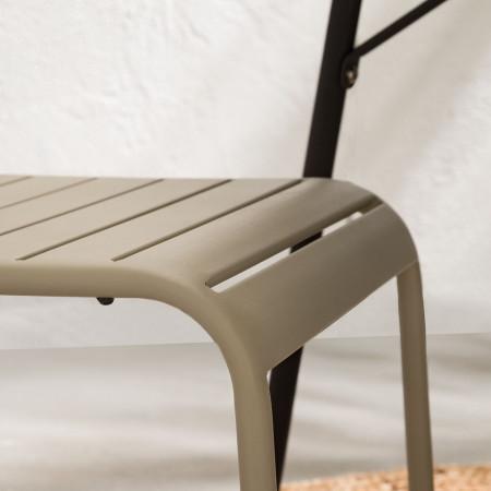 Set de 2 scaune Kansas fier, bej, 44 x 80 x 80 cm