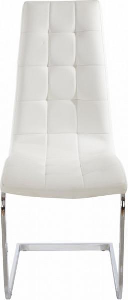 Set de 4 scaune LOLA din piele sintetica/metal, alb/argintiu, 52 x 54 x 101 cm