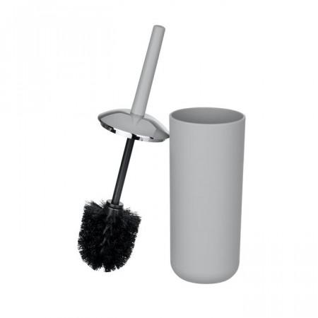 Suport si perie de toaleta Aalaiya, plastic, gri, 37 x 10 x 10 cm