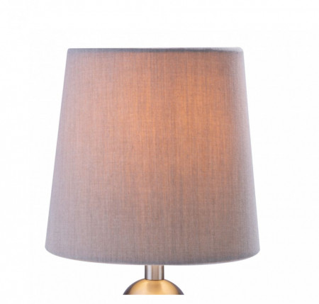 Veioza Rollo I metal/material textil/lemn, 1 bec, diametru 15 cm, gri