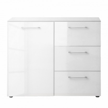 Comoda Viveiro sticla/PAL/metal, alb/argintiu, 97 x 80 x 40 cm