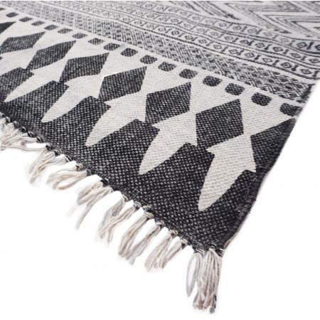 Covor Indiana Stripes bumbac, negru/alb, 120 x 180 x 0.5 cm