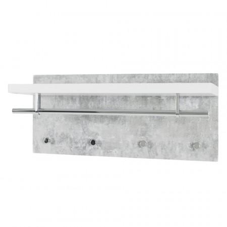 Cuier Layton MDF/metal, gri/alb, 75 x 30 x 26 cm