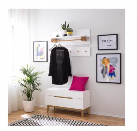 Cuier Tenabo MDF/stejar, alb lacuit, 97 x 20 x 2 cm