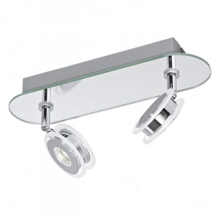 Lustra LED Agueda I sticla/otel, crom, 2 becuri, 220 V, 3000 K, 340 lm
