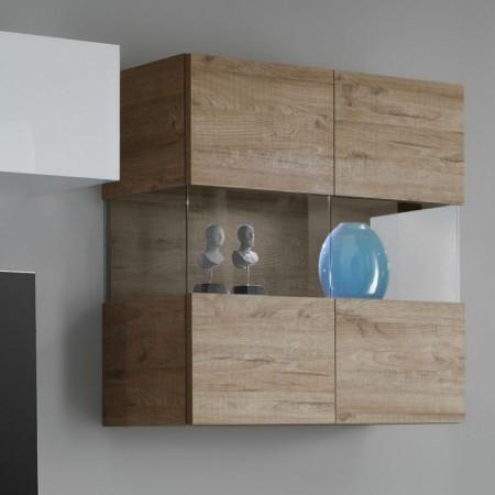 Mobilier living Line LC III 3 piese, PAL/stejar, alb/maro, 320 x 170 x 51 cm
