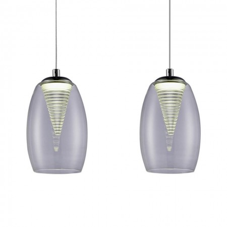 Pendul LED Metropolis Spiral II sticla/otel, argintiu, 3 becuri, 5 W