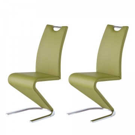 Set de 2 scaune Amanda verde din piele sintetica