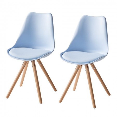 Set de 2 scaune Langford Lindholm cu picioare din lemn masiv, albastru deschis