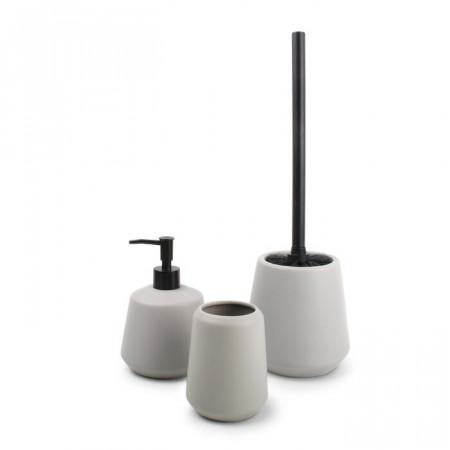 Set de 3 accesorii pentru baie, plastic, gri