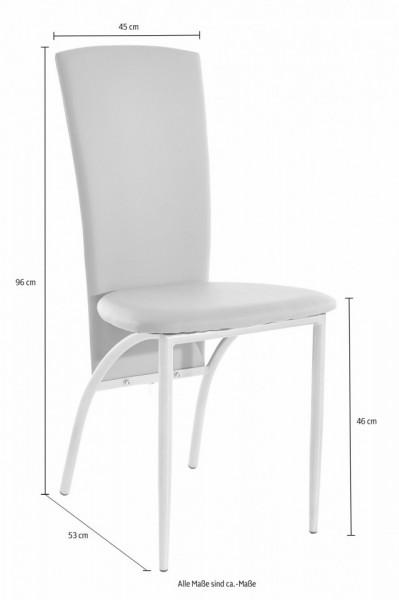 Set de living Norma/Nicole 4 scaune piele sintetica + 1 masa cu blat de sticla, alba, 120 x 80 x 76 cm