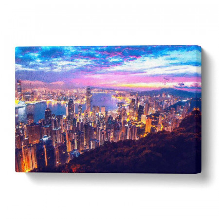 Tablou 'Hong Kong Skyline at Sunset', 35 x 50 cm