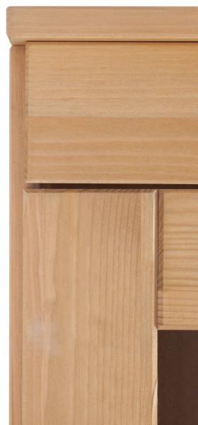 Vitrina suspendata Toscana din lemn masiv de pin/metal, maro, 100 x 29 x 80 cm