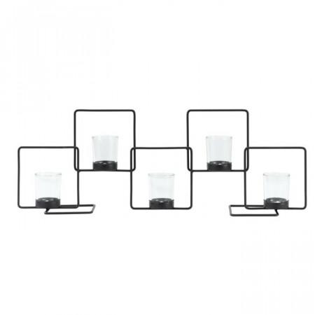 Candelabru Quadra, metal, negru, 21 x 60 x 10 cm