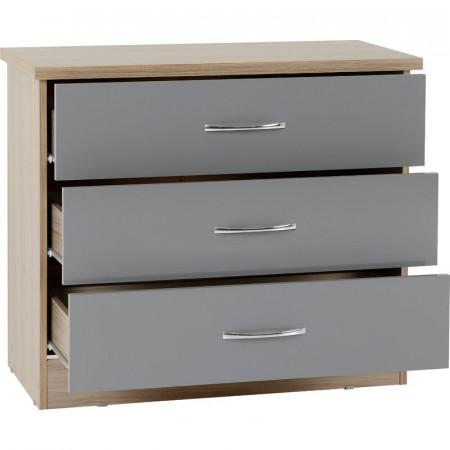 Comodă Baylee 3 cu sertare, gri, 70,5cm H x 81cm W x 40cm D