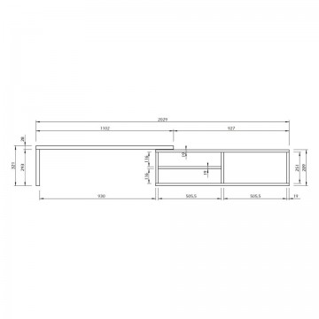 Comoda TV Echo MDF, alb/nuc, 110x32x35 cm