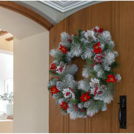 Coroana decorativa Snowy Bristle, 76cm