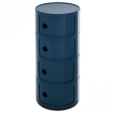 Masa laterala cu spatiu de depozitare, albastru