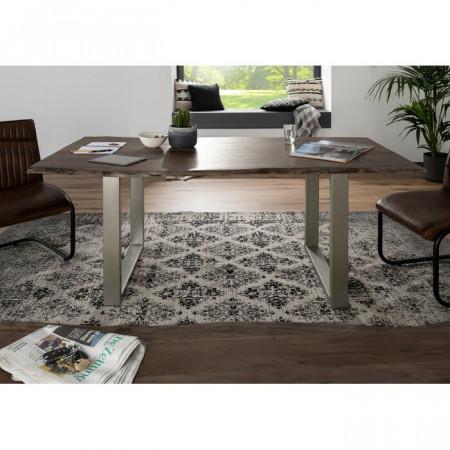 Masa, lemn masiv, maro/argintie, 76 x 120 x 90 cm